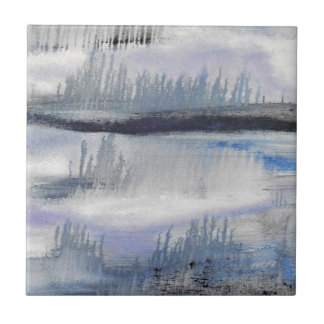 Blue Grey Abstract Ceramic Tile