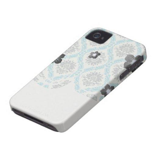 blue grey and cream elegant damask Case-Mate iPhone 4 case