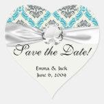 blue grey and cream elegant damask heart stickers
