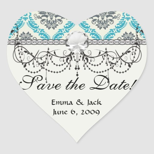 blue grey and cream elegant damask heart stickers