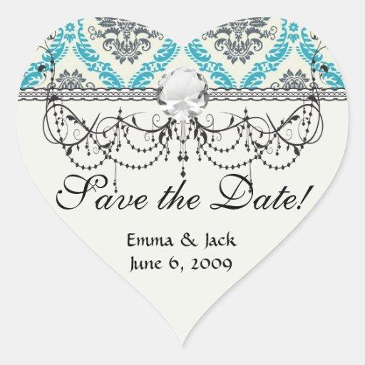 blue grey and cream elegant damask sticker