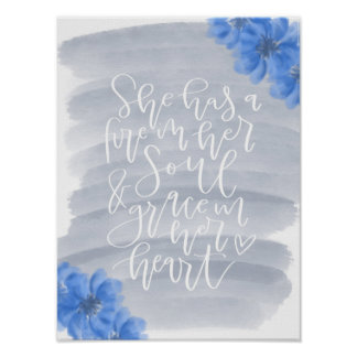 Blue, grey, and white inspirational quote poster