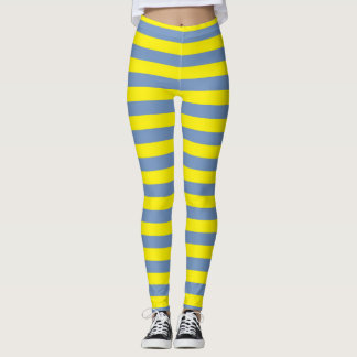 Blue/Grey and Yellow Stripes Leggings