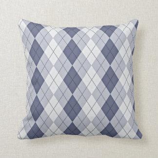 Blue Grey Argyle Throw Pillow