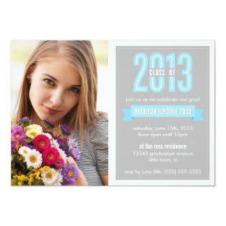 Blue Grey Banner Class of 2013 Photo Graduation Card