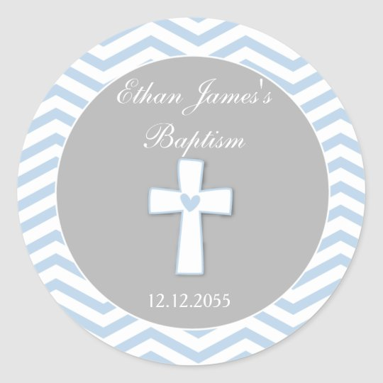 Blue Grey Baptism Favour Stickers Tags