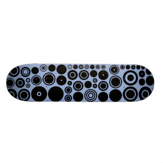 Blue grey, Black Retro Circles Pattern Custom Skateboard