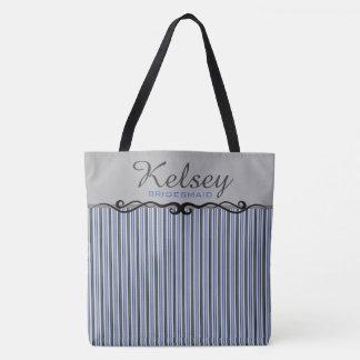 Blue Grey & Black Striped Personalized Bridesmaid Tote Bag