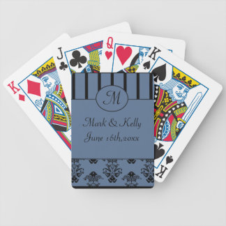 Blue Grey & Black Stripes, Monogram Baroque Bicycle Playing Cards