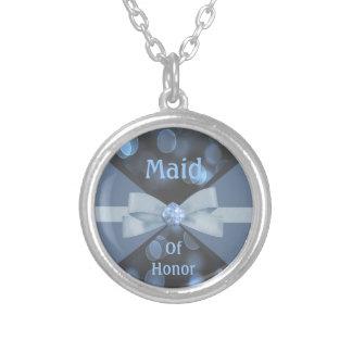 Blue & Grey Bokeh Lights, Ribbon & Bow Wedding Round Pendant Necklace
