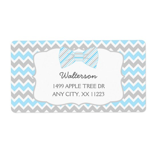 Blue Grey Bow tie baby shower address labels