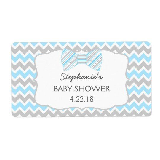 Blue Grey Bow tie baby shower water bottle