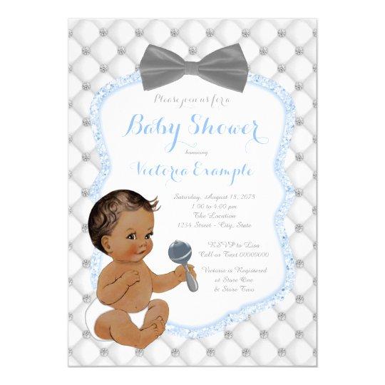Blue Grey Bow Tie Ethnic Boy Baby Shower