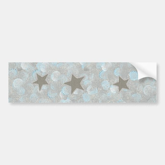 Blue Grey Bubbles & Silver Stars Bumper Stickers