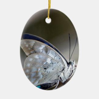 Blue Grey Butterfly Ceramic Oval Decoration