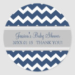 Blue Grey Chevron Baby Shower Favour Stickers