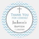 Blue Grey Chevron Boys Baptism Thank You Favour Classic Round Sticker