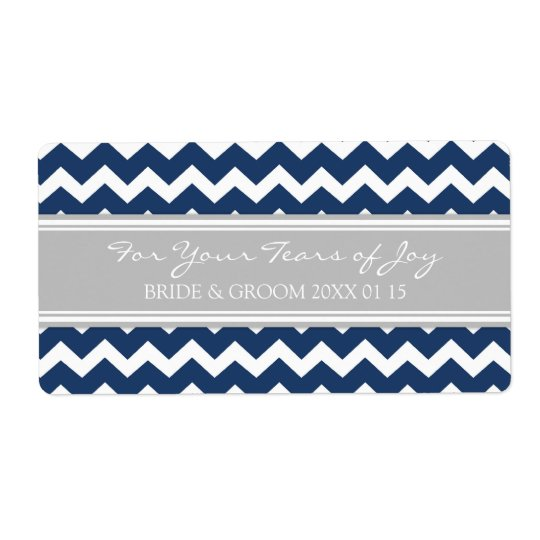 Blue Grey Chevron Cry Packet Wedding Labels