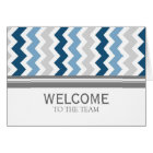 Blue Grey Chevron Employee Welcome to the Team Card