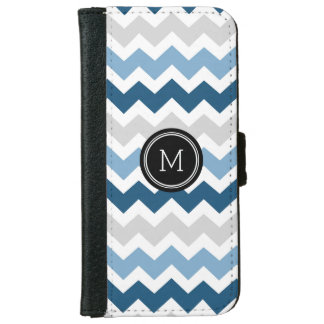 Blue Grey Chevron Pattern Monogram iPhone 6 Wallet Case