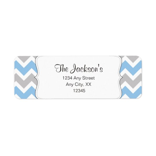 Blue Grey Chevron return address or shower favour