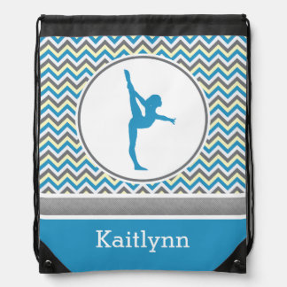 Blue / Grey Chevron Stripes Gymnastics w/ Monogram Drawstring Bag