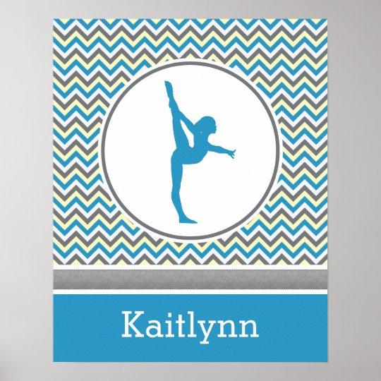 Blue / Grey Chevron Stripes Gymnastics w/ Monogram