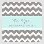 Blue Grey Chevron Thank You Wedding Favour Tags Square Stickers