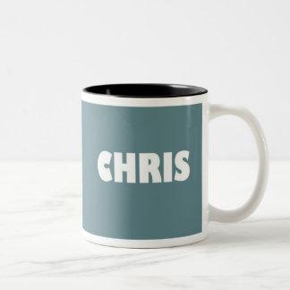 Blue-grey Chris name mug