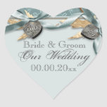 Blue grey country heart wedding heart stickers