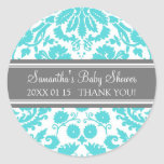 Blue Grey Damask Baby Shower Favour Stickers