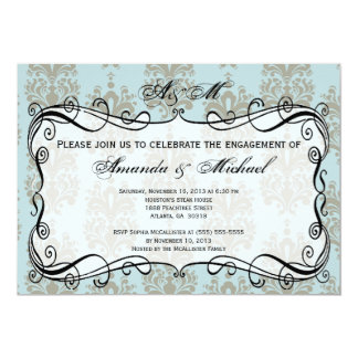 Blue & Grey Damask Engagement Party Invitation