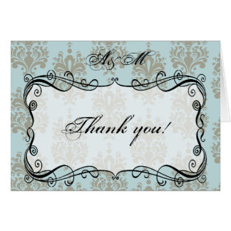 Blue & Grey Damask Monogram Thank You Card