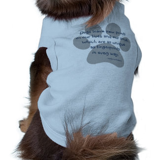 Blue Grey Dogs Leave Paw Prints Dog T-shirt
