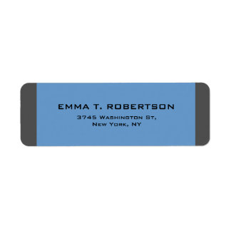 Blue Grey Elegant Modern Trendy Minimalist Return Address Label