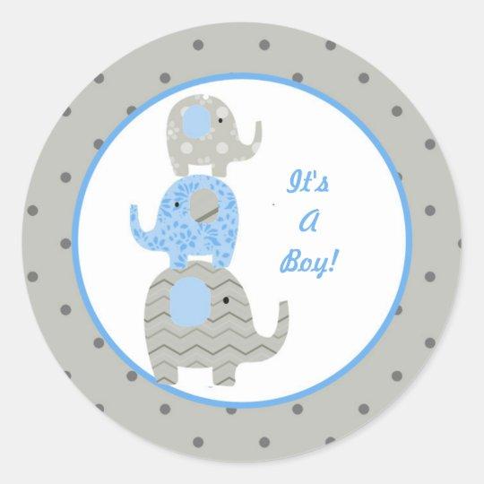 Blue Grey Elephant Baby Personalised Sticker