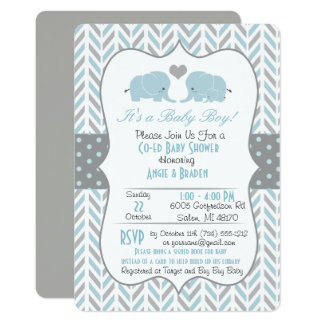 Blue Grey Elephant Baby Shower Invitation