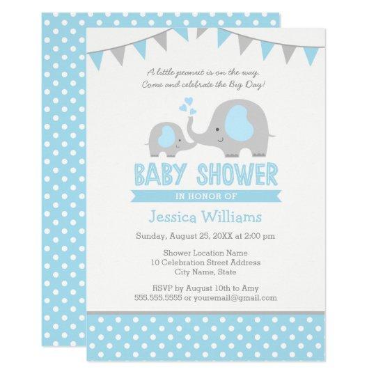 Blue Grey Elephant Baby Shower Invitations for Boy