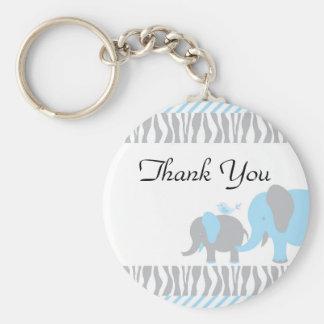 Blue & Grey Elephant Basic Round Button Key Ring