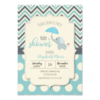blue grey elephant chevron baby shower polka dots invitation