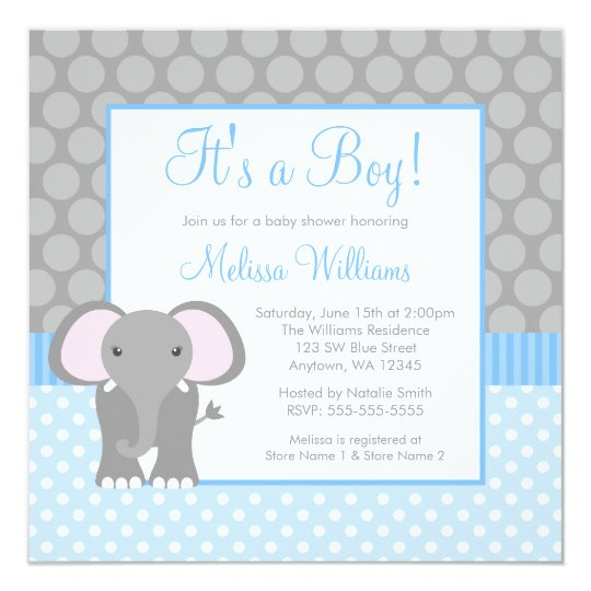 Blue Grey Elephant Polka Dot Boy Baby Shower