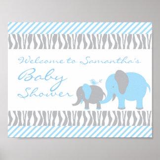 Blue & Grey Elephant Welcome Door Sign