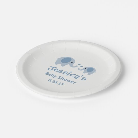 Blue & Grey Elephants Baby Shower Paper Plates