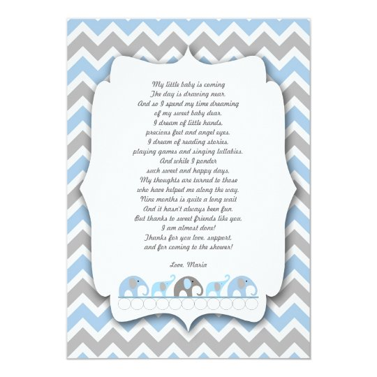 Blue Grey Elephants Baby shower thank you notes