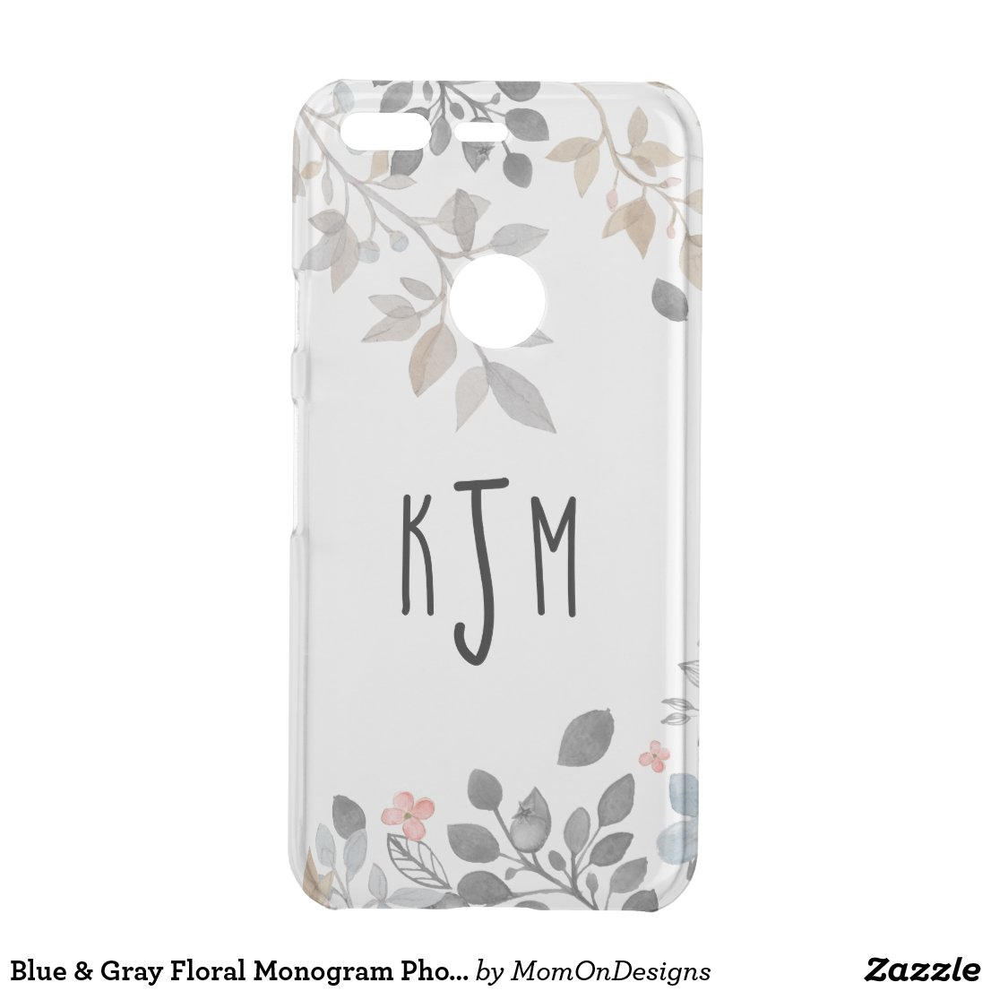 Blue & Grey Floral Monogram Phone Cover