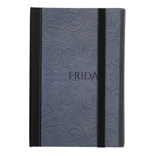 Blue-Grey Floral Pattern Suede Leather Look iPad Mini