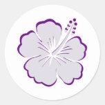 blue grey hibiscus round sticker