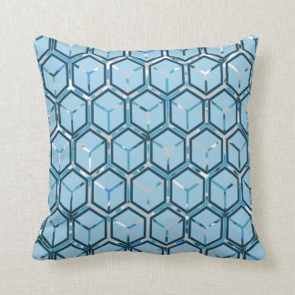 Blue/Grey Inlay Honeycomb Pattern Throw Pillow Throw Cushion