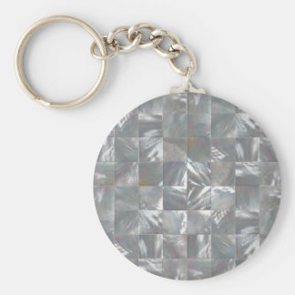 Blue-Grey Mother of Pearl Tile Pattern Keychains