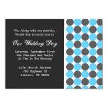 Blue & Grey  Polka DotBackground Wedding Invites 13 Cm X 18 Cm Invitation Card